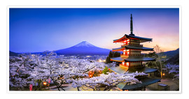 Poster Premium  Chureito Pagoda at Mount Fuji in Fujiyoshida, Japan - Jan Christopher Becke