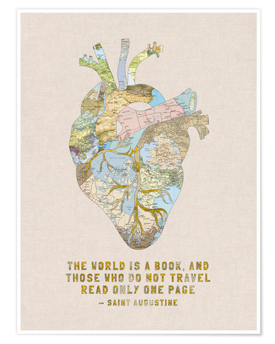 Poster Premium A Travelers Heart + Quote