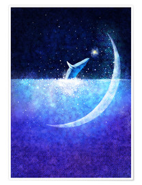 Poster Premium Blue whale and crescent