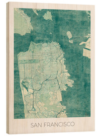 Legno  San Francisco Map Blue - Hubert Roguski