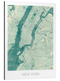 Stampa su alluminio  New York Map Blue - Hubert Roguski