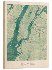 Stampa su legno  New York Map Blue - Hubert Roguski