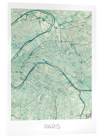 Stampa su vetro acrilico  Paris Map Blue - Hubert Roguski