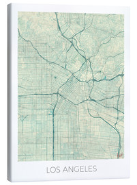 Stampa su tela  Los Angeles Map Blue - Hubert Roguski