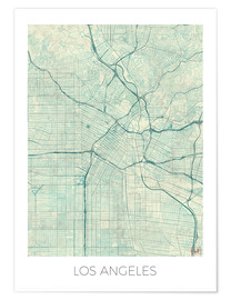 Poster Premium  Los Angeles Map Blue - Hubert Roguski