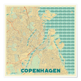 Poster Premium  Copenhagen Map Retro - Hubert Roguski
