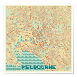 Poster  Melbourne Map Retro - Hubert Roguski