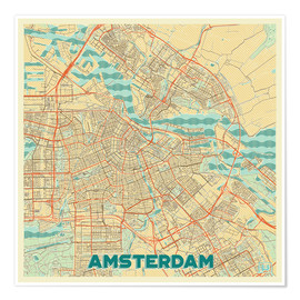 Poster Premium  Amsterdam Map Retro - Hubert Roguski