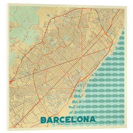 Stampa su vetro acrilico  Barcelona Map Retro - Hubert Roguski
