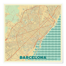 Poster Premium  Barcelona Map Retro - Hubert Roguski