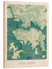 Legno  Hong Kong Map Blue - Hubert Roguski
