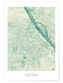 Poster  Vienna Map Blue - Hubert Roguski