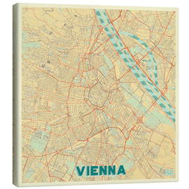 Stampa su tela  Vienna Map Retro - Hubert Roguski