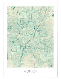 Poster Premium  Munich Map Blue - Hubert Roguski