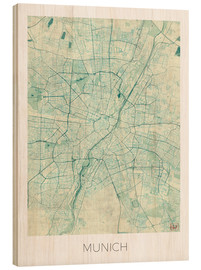 Legno  Munich Map Blue - Hubert Roguski