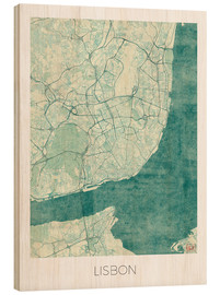 Legno  Lisbon Map Blue - Hubert Roguski