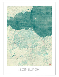 Poster Premium  Edinburgh Map Blue - Hubert Roguski