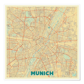 Poster Premium  Munich Map Retro - Hubert Roguski