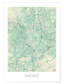 Poster  Madrid, Spain Map Blue - Hubert Roguski