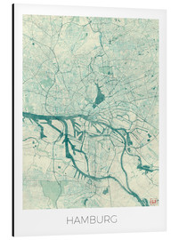 Alluminio Dibond  Hamburg, Germany Map Blue - Hubert Roguski