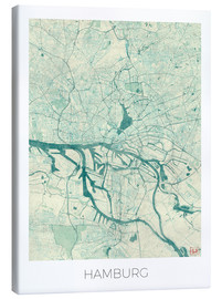 Tela  Hamburg, Germany Map Blue - Hubert Roguski