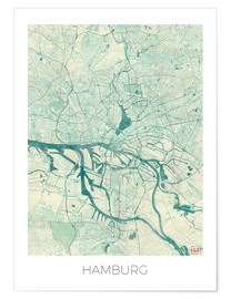 Poster  Hamburg, Germany Map Blue - Hubert Roguski
