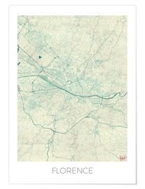 Poster Premium Florence, Italy Map Blue