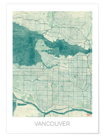 Poster Premium Vancouver, Canada Map Blue