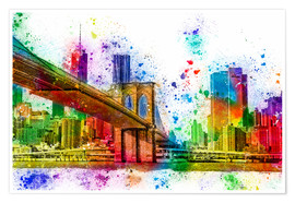 Poster Premium  New York with Brooklyn Bridge - Peter Roder