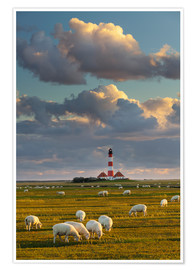 Poster Premium  Lighthouse Westerhever, Cumulus clouds - Rainer Mirau