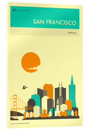 Vetro acrilico  SAN FRANCISCO TRAVEL POSTER - Jazzberry Blue