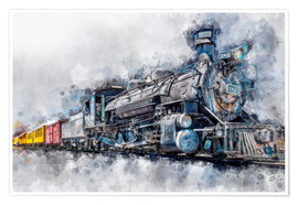 Poster Premium Steam locomotive Durango and Silverton Narrow Gauge Railroad - Colorado - USA