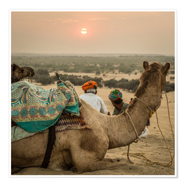 Poster Premium  Sunset in the Thar Desert - Sebastian Rost