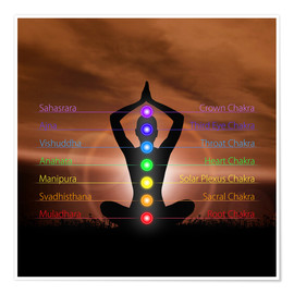 Poster  Chakras before evening sky