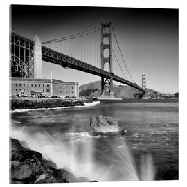 Stampa su vetro acrilico  Golden Gate Bridge with breakers - Melanie Viola