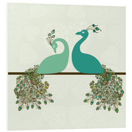 Stampa su schiuma dura  two peacocks
