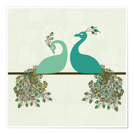 Poster Premium  two peacocks