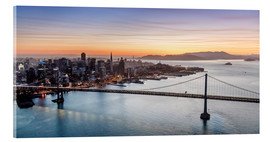 Stampa su vetro acrilico  Aerial view of San Francisco at sunset, USA - Matteo Colombo