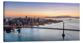 Stampa su tela  Aerial view of San Francisco at sunset, USA - Matteo Colombo