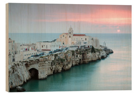 Stampa su legno  Sunset over old town, Vieste, Apulia - Matteo Colombo