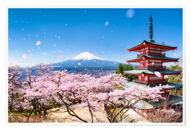 Jan Christopher Becke - Chureito Pagoda and Mount Fuji in spring, Fujiyoshida, Japan