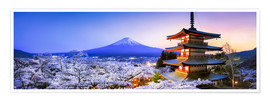 Poster Premium  Chureito pagoda with Mount Fuji in spring, Fujiyoshida, Japan - Jan Christopher Becke