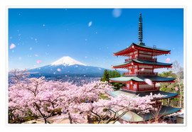 Poster Premium  Chureito Pagoda and Mount Fuji in spring, Fujiyoshida, Japan - Jan Christopher Becke