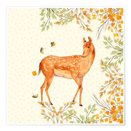 Poster Premium Magical Deer in Forest