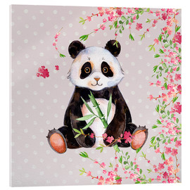 Vetro acrilico  Little panda bear with bamboo and cherry blossoms - UtArt