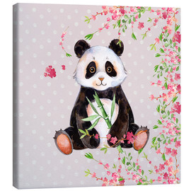 Stampa su tela  Little panda bear with bamboo and cherry blossoms - UtArt