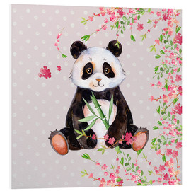 Stampa su PVC  Little panda bear with bamboo and cherry blossoms - UtArt