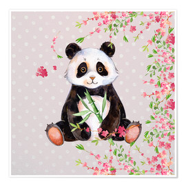 Poster Premium  Little panda bear with bamboo and cherry blossoms - UtArt