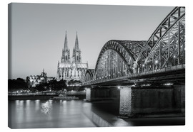 Stampa su tela  Cologne at night in black and white - Michael Valjak