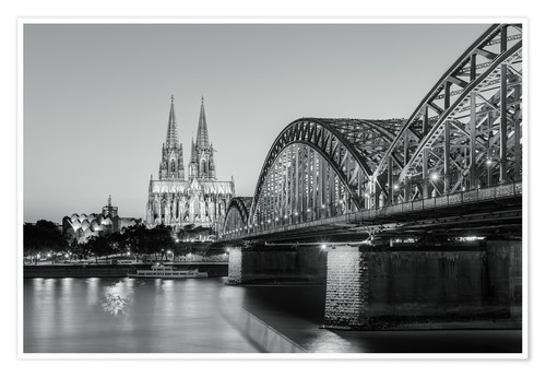 Poster Premium Cologne at night in black and white